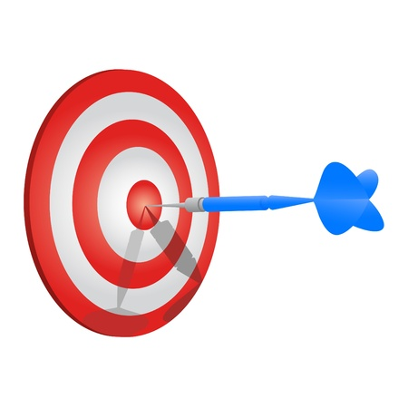 aim: Blue dart stuck in the center of a target  Illustration
