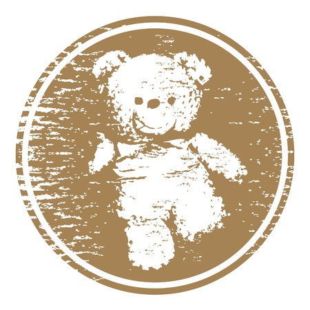 Drawing teddy bear in circle tearing  Vector