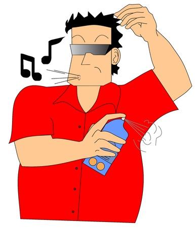 Dibujo de un hombre tirar desodorante