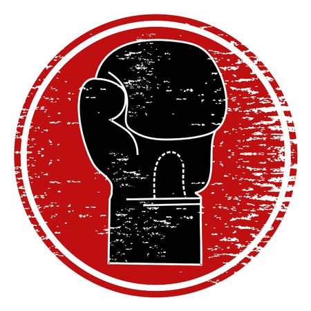 Signo circular con una foto de un guante de boxeo  Ilustración de vector