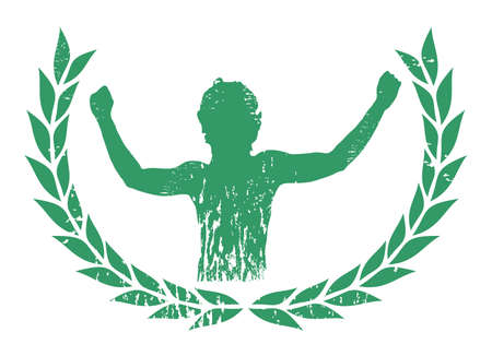 male boxer: Sports emblem celebrating the victory
