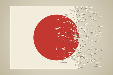 disintegrate: Flag of Japan in a state of degradation