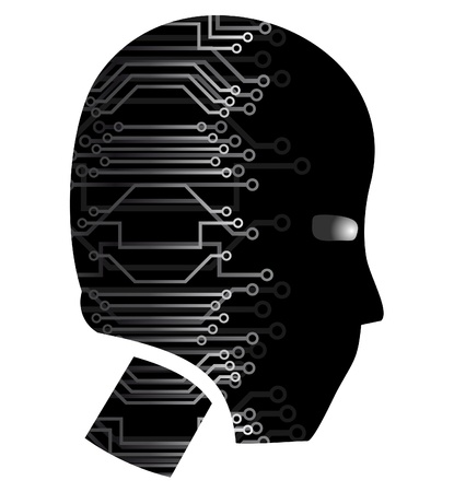 cabling: Human head with wiring technology  Illustration