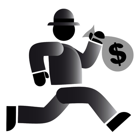 Running with a bag of money Stock Vector - 9513078