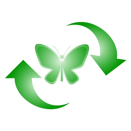 obsolescence: Green butterfly with two arrows