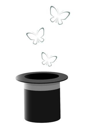 butterflies flying: Farfalle volano fuori di un cappello del mago