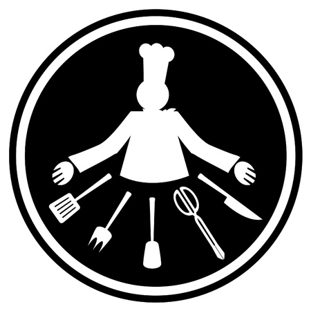 Chef and many tools for cooking in black signal  Vector