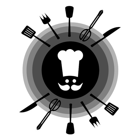 Utensils to cook with white cap Vector