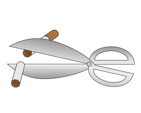 ciach: Drawing of scissors cutting a cigarette in half  Ilustracja