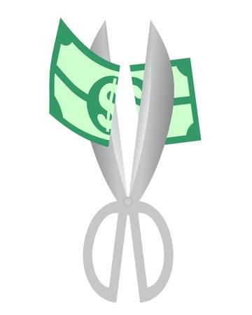 unreliable: Drawing of scissors cutting a dollar bill