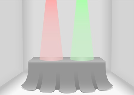 Table with green and red lights indicating success or failure respectively  Vector