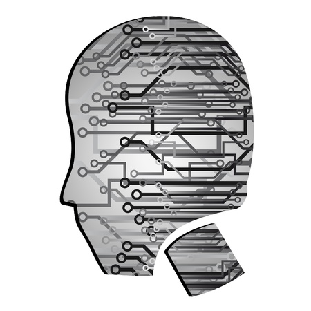 cabling: Human head with many technological connections