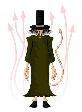disfrazados: El Diablo disfrazado como un mendigo de dibujo