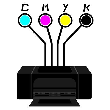 Black printer with cyan, magenta, yellow and black circles  Vector