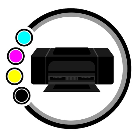 toner: Black printer with cyan, magenta, yellow and black circles  Illustration