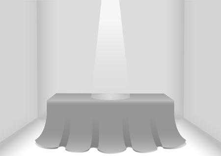 define: White light illuminating an elegant red table empty