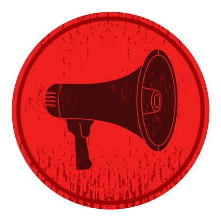 megaphone icon: Circular sign with a picture of a megaphone