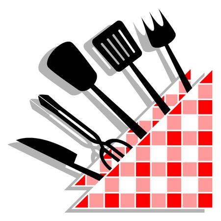 tongs: Muchos utensilios de cocina, decorado con una servilleta  Vectores