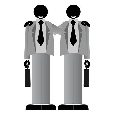 duo: Two businessmen working together to succeed in business  Illustration