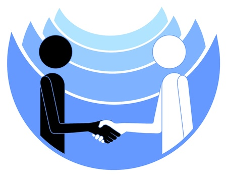 peace treaty: Abstract drawing of two people shaking hands
