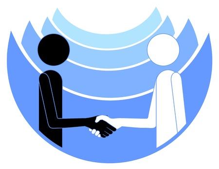 mani che si stringono: Astratto disegno di due persone che stringono la mano