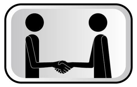mani che si stringono: illustrazione con pupazzi di due amici