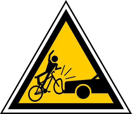 triangular warning sign: caution signal of proximity cyclists