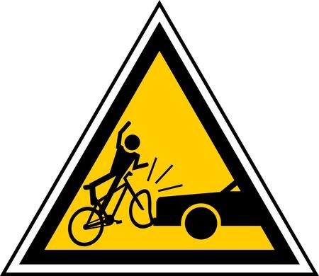 accidente transito: se�al de precauci�n de ciclistas de proximidad  Vectores