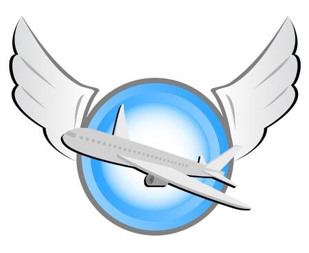 transporte terrestre: aviones en un escudo circular con alas  Vectores