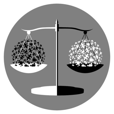 black and white balance symbol