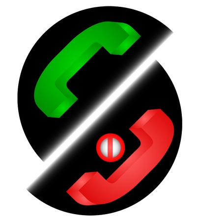 Phone symbols red and green  Illustration