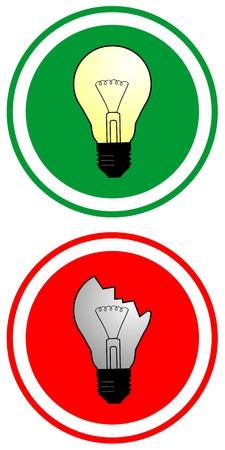 true false: circular indicator of true and false using bulbs