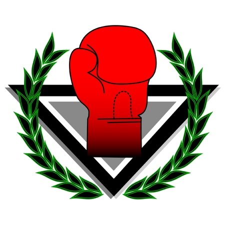 boxing glove: boxing glove with laurel wreath  Illustration