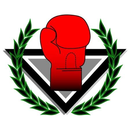 jab: boxing glove with laurel wreath  Illustration