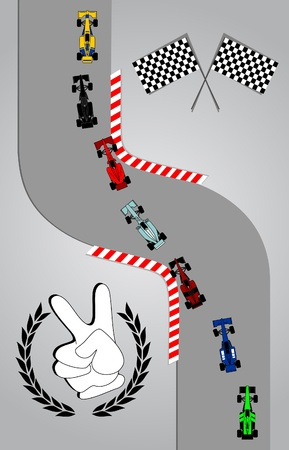 Race cars taking a curve Vector