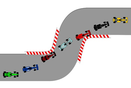 Race cars running on a circuit Vector