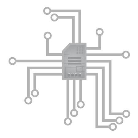condenser: vector drawing of a abstract chip