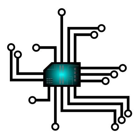 dibujo de un chip futurista vectorial
