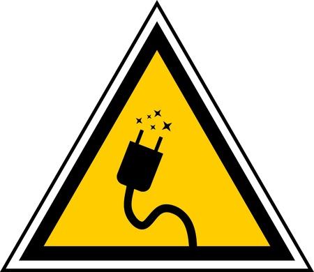 caution sign: segno triangolare cautela che indica il cavo elettrificata
