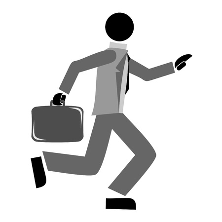Businessman running with briefcase and suit Stock Vector - 9550625