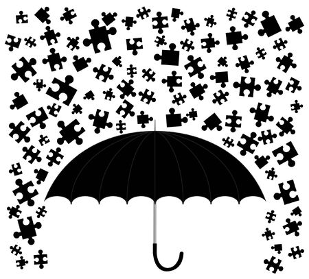 piece: Abstract drawing of rain puzzle pieces