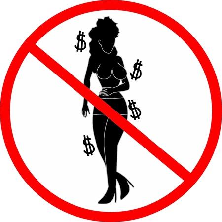 prostituta: Signo de prohibición de la prostitución Vectores