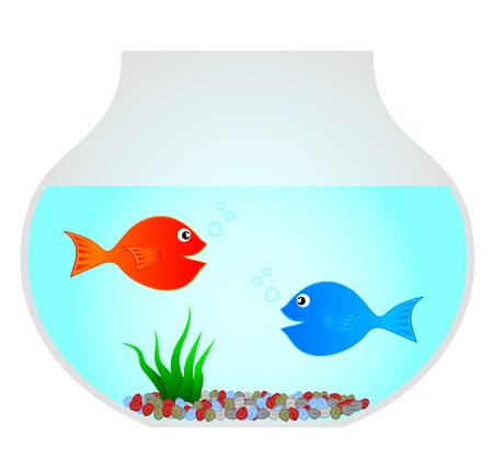 Drawing of a bowl with two fish Stock Vector - 9530424