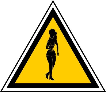 Driehoekige signaal dat prostitutie zone waarschuwt