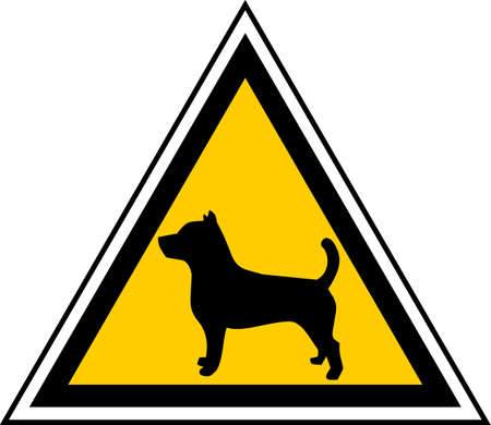 Triangular caution sign indicating proximity of dogs Stock Vector - 9530539