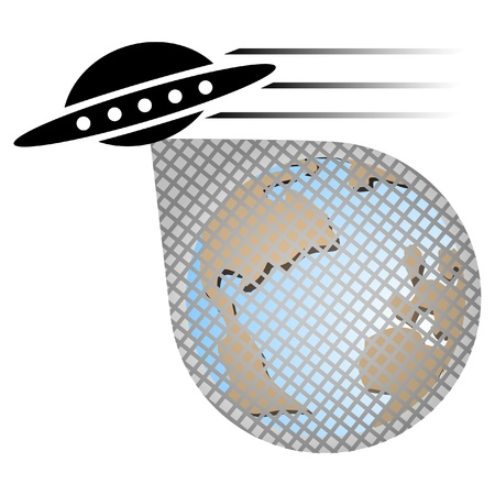 UFO stealing the planet earth  Stock Vector - 9530419