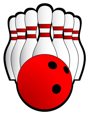 drawing pins: Illustration of a bowling ball and seven pins