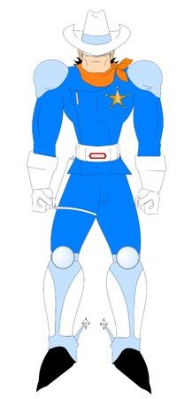 wrathful: Man dressed as futuristic shooter  Illustration