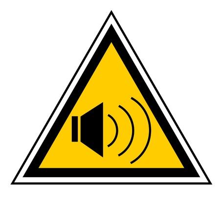 loud: Triangular yellow caution signal indicating noise  Illustration