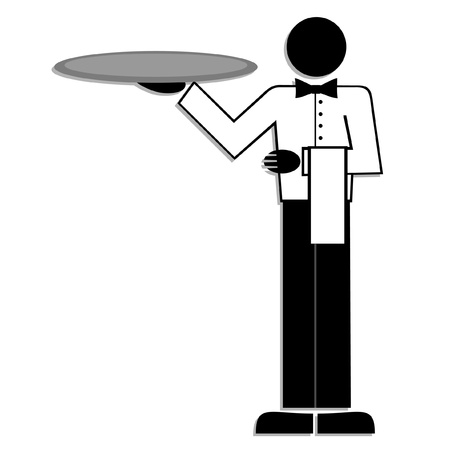 serving tray: picture of a elegant waiter Illustration